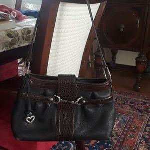 Brighton blk/brown croc horsebit shoulder bag